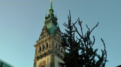 Germany Europe Hamburg 007 Christmas tree and city hall tower Stock Footage