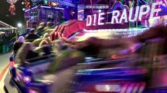 Germany Europe Hamburg 013 fast fairground ride on winter fair Stock Footage