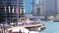 Crowed of people in Circular Quay in Sydney, Australia Stock Footage