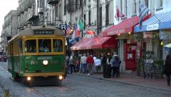 River street streetcar, savannah, ga, usa Stock Footage