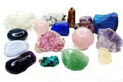 amethyst quartz garnet sodalite agate geological crystals - stock photo
