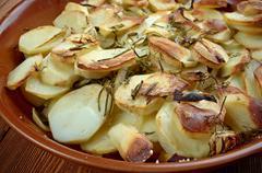 Potato and onion gratin Stock Photos