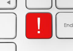 red exclamation mark button. - stock photo