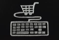 chalk keyboard connected to cart - stock photo