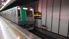 Underground Railroad Station Subway Train Arrives From Dark Tunnel 4K Stock Footage