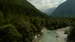 Aerial perspective of river Soca valley Stock Footage
