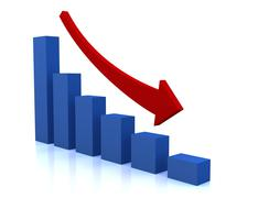 Business decline diagram with red arrow Stock Illustration