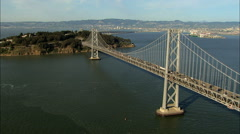 Aerials USA San Francisco Oakland Bay Bridge city Stock Footage