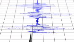 4k close view of a seismograph with arrow drawing with blue ink. uhd animatio Stock Footage