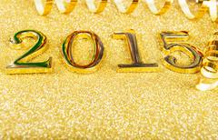 Fairytale new year composition with gold numbers 2015 year Stock Photos