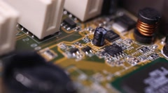 Electronics, mother board flyover Stock Footage