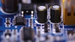 Mother board flyover macro close up Stock Footage