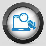 Pc search icon - stock illustration