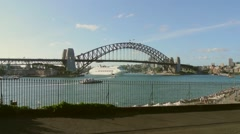 Cruise Ship Passes Underneath Sydney Harbour Bridge. - stock footage