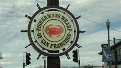 Fishermans wharf sign in san francisco Stock Footage