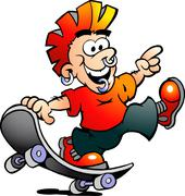 Hand-drawn vector illustration of an happy cool skater boy Stock Illustration