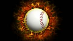 Fiery Baseball Ball, with Alpha Channel Stock Footage