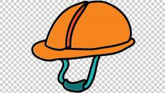 Construction helmet hat line drawing animation transparent background Stock Footage
