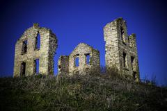 Ruins of an old stone house Stock Photos