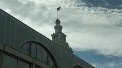 USA flag ferry building san francisco Stock Footage