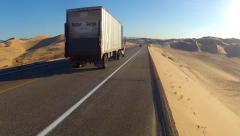 Traffic On Highway Through Algodones Sand Dunes- Glamis CA Stock Footage