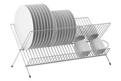 plate rack with tableware isolated on white background - stock illustration