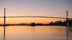 Sunrise Freighter Under Lions Gate Bridge Stock Footage