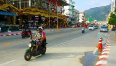 Patong, phuket, thailand - circa nov 2014: light traffic on the road between Stock Footage