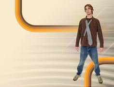 young caucasian teenage male wears vintage brown shirt over a reto background - stock illustration
