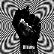 Raising fist with barcode Stock Illustration