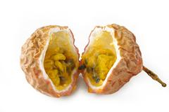 passionfruit on white background - stock photo