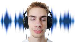 Teenager listening to music Stock Photos