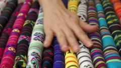 Woman Touches Traditional Mexican Fabric Stock Footage