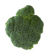 a direct overhead bird's eye view above the top of a green broccoli vegetable - stock photo