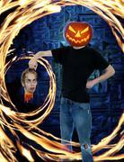 pumpkin head halloween horror - stock illustration
