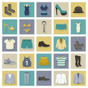 Clothing and shoes flat icons set with shadows Stock Illustration