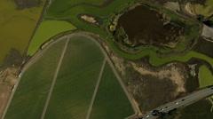 Aerial California USA Farming crops agricultural ocean Stock Footage