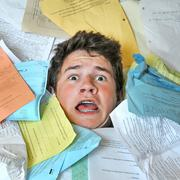 Too much homework assignments Stock Photos