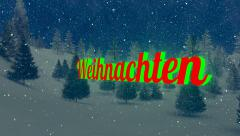 Animated Weihnachten text in the night forest 3 Stock Footage