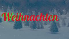 Animated Weihnachten text in the night forest 5 Stock Footage