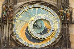 detail of the prague astronomical clock (orloj) in the old town of prague - stock photo