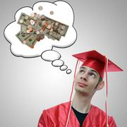 Stock Illustration of highschool, university, or college graduate thinks about the debt he has and
