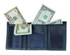 Blue wallet with lots of money sticking out of it isolated on white. Stock Photos