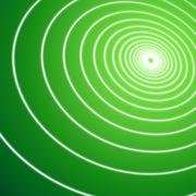 Green illustration graphic of thin white lines spiraling into green light Stock Illustration