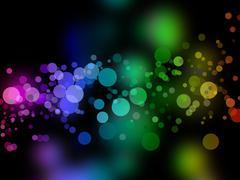 dark rainbow bokeh background illustration. these also look like bubbles. - stock illustration