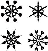 Collection set of four vector snowflakes isolated on white background Stock Illustration