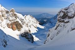 winter mountain valley - stock photo