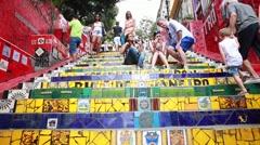 Tourists at Escadaria Selaron in Rio de Janeiro, Brazil. Stock Footage