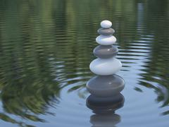 dark and white zen stones in a lake - stock illustration
