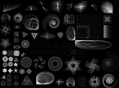 collection of lots of different abstract shapes. black and white image. these - stock illustration